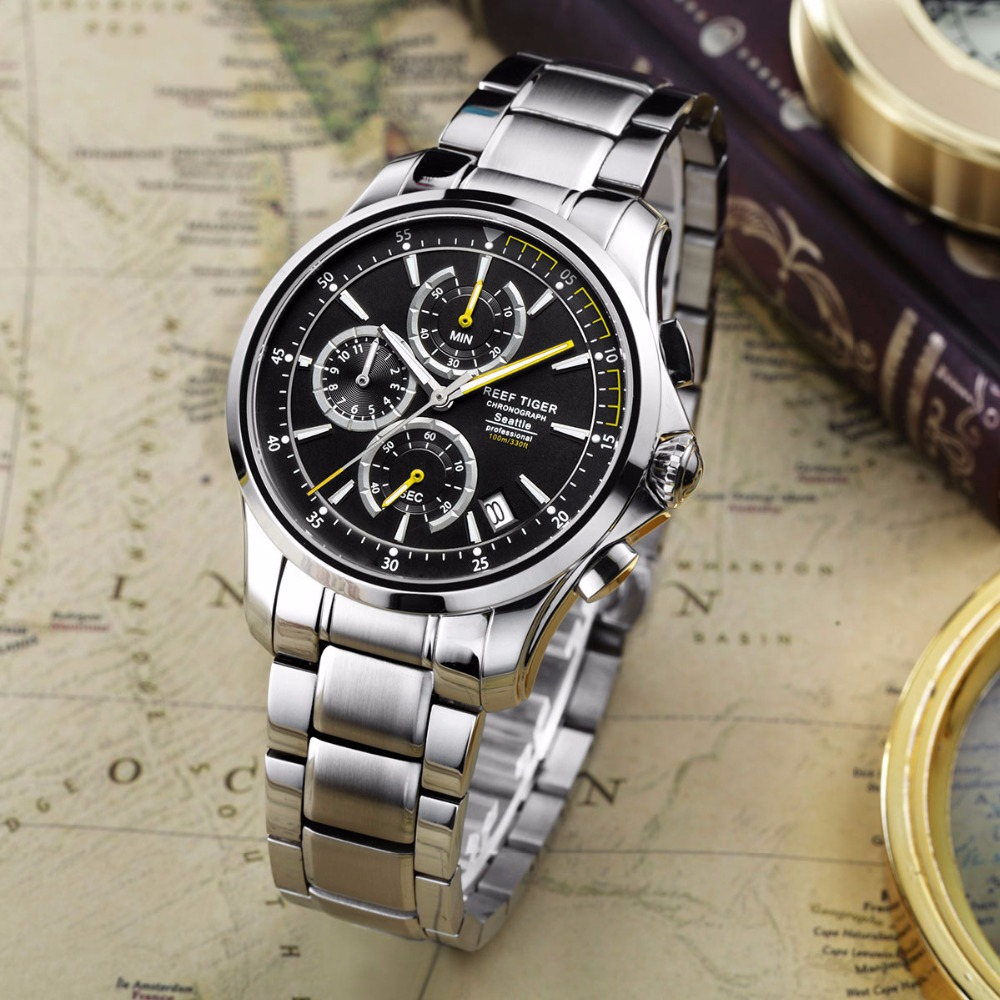 Relojes deportivos casuales de tigre de arrecife/RT con cronógrafo de cronógrafo superluminoso para hombre con fecha de cuarzo de acero ver RGA1663-in Relojes deportivos from Relojes de pulsera    1