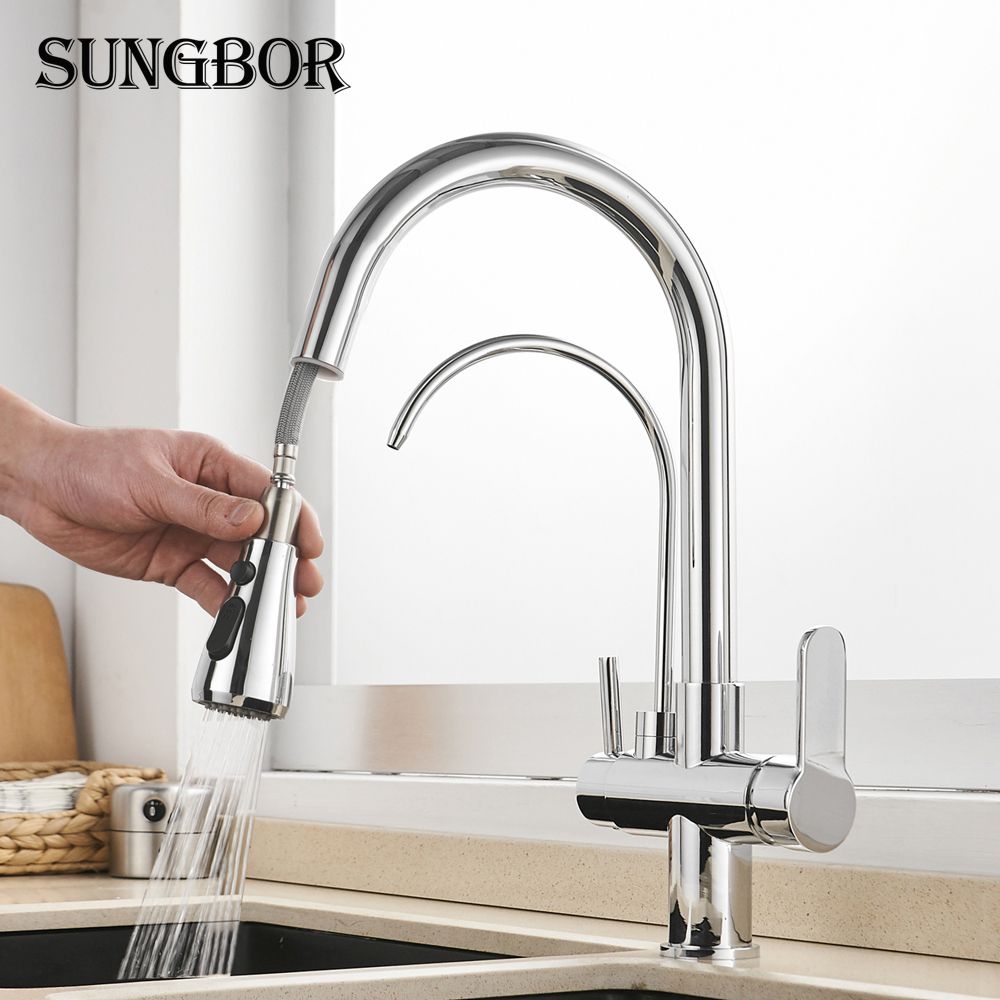 Kitchen Faucets 3 Ways Purification Faucet Drinking Tap Pure Water Pull Down Faucet Dual Spout Kitchen Sink Mixer Taps Crane