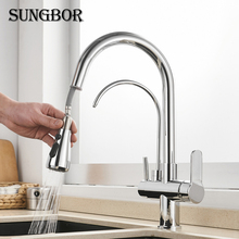 Kitchen Faucets 3 Ways Purification Faucet Drinking Tap Pure Water Pull Down Faucet Dual Spout Kitchen Sink Mixer Taps Crane цена 2017