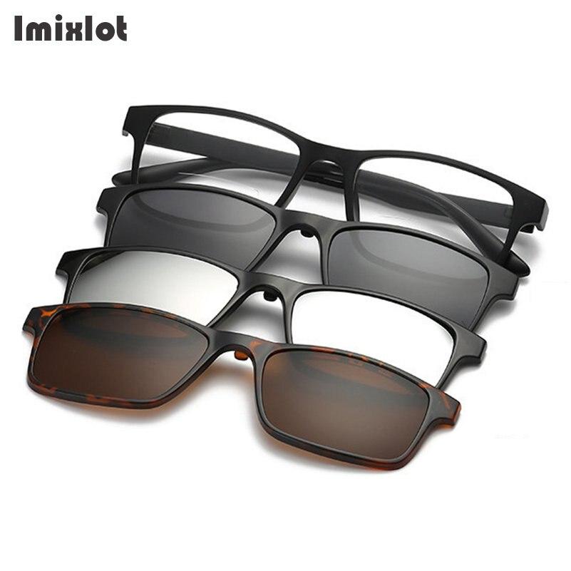 23224af125 Magnetic Sunglasses Men 3 In 1 Polarized Clip On Sunglass Women Sun Glasses  Custom Prescription Myopia