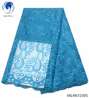 BEAUTIFICAL sky blue lace fabric tulle lace african fabric african styles embroidery wedding fabric 5yards/lot online ML4N723
