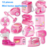 Small Home Appliances Suit Simulation Pretend Play House Toy Kitchen Tools Collection Children Multi function Mini Toy12PCS/set