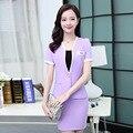 Mujeres libres del envío de oficina ropa de trabajo 2016 de las mujeres OL ropa establece trajes de verano de manga corta de dos piezas femenina al por mayor