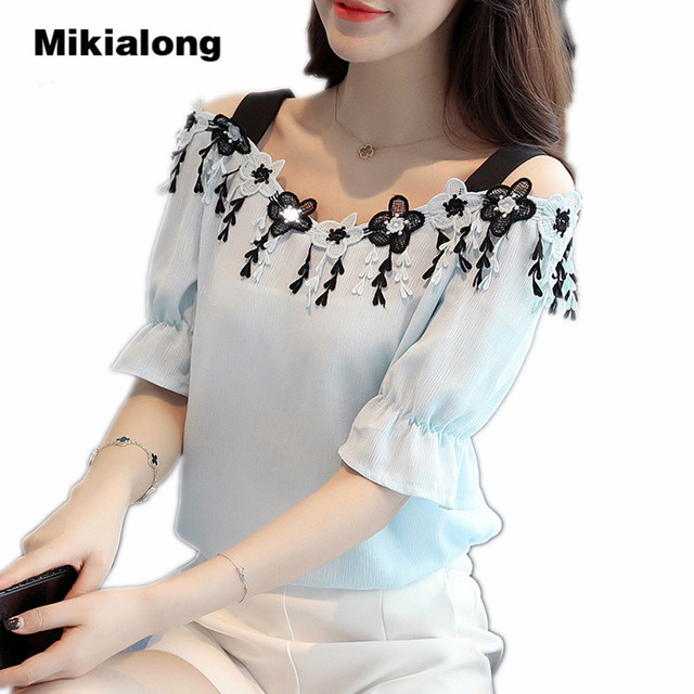 9d31aabf647320 Mikialong Lace Embroidery Off Shoulder Top Women Blue White Chiffon Blouse  2017 Fashion Short Sleeve Summer