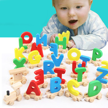 New Wooden Train Number 0-9 Figure Model Toy with Alphabetical Letters Educational Assemble Alphabet Childrens Gifts