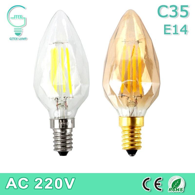 LED Edison Light Bulb 4W E14 Pendant Lamp Diamond Glass Shape 220V 240V LED Stylish Decor Bulb Tungsten Filament Bulb