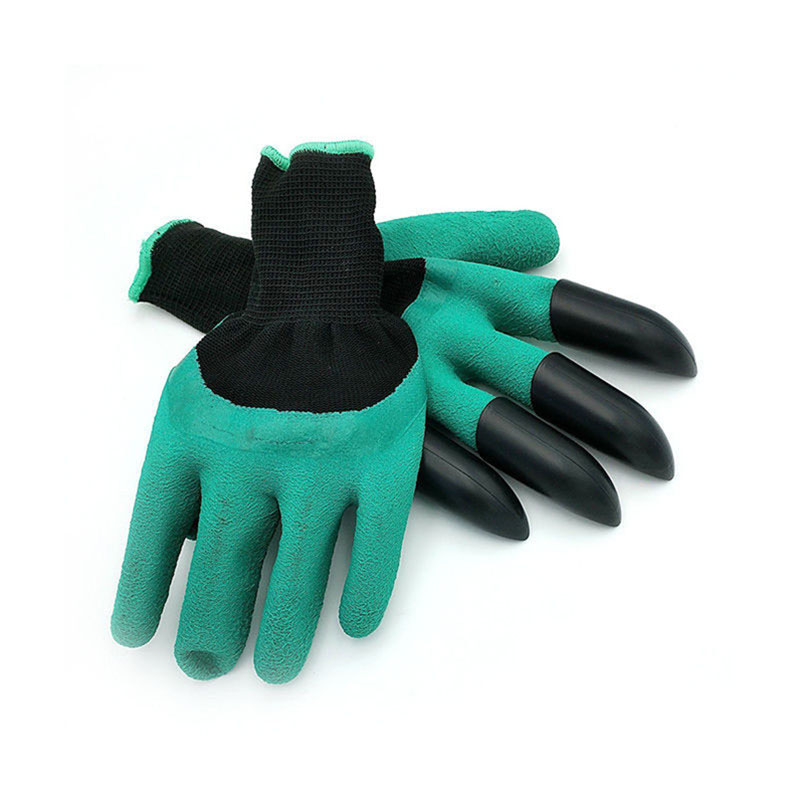 Hot sale Rubber Garden Gloves with 4 ABS Plastic Fingertips Claws for Gardening Raking Digging Planting Latex Work Glove ...