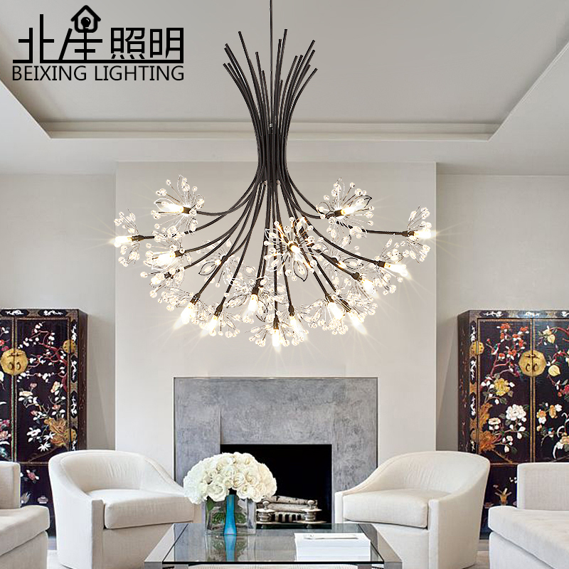 Современный Одуванчик кристалл подвесной светильник хром железная спальня столовая художественная лампа