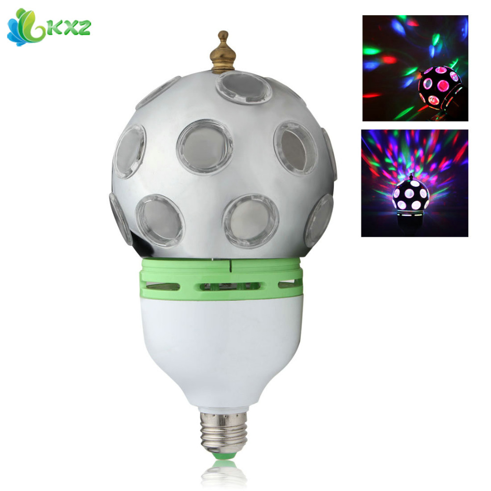 Mini 3W Colorful RGB LED Bulb Lamp Sound Activated Auto Rotating Crystal Magic Ball LED Stage Effect Light for Home Decoration mini rgb led party disco club dj light crystal magic ball effect stage lighting