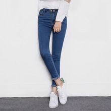 Ladies autumn winter fashion simple high waist full length denim pencil pants stylish two buttons all-match elastic jeans women