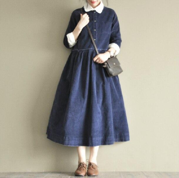 Automne japonais douce soeur petite robe en velours côtelé frais belle couleur unie all-match o-cou trois quarts manches robe Mori fille
