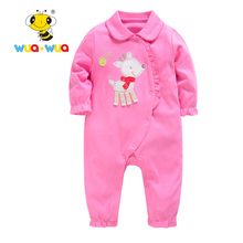 Romper Baby Clothing Newborn Baby Girl Cloth Cotton Cute deer Jumpsuit pink color Fashion Baby's Clothing Wua wua AT17123(China)