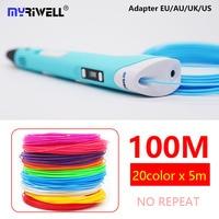 Myriwell 3d Ручка RP-100B светодио дный дисплей abs 1,75 мм PLA-волокно 3d Ручка 3 d ручка с 100 м abs подарок на день рождения ребёнка