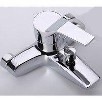 Bathtub Mixer Taps Bath Shower Faucets Single Handle Two Holes Wall Mount Curve Spout Bathroom Sink Faucets