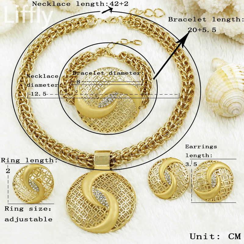 Gold Schmuck Sets Mode Heißer Verkauf Anhänger Halskette Ohrring Ring Dubai Schmuck-Sets für Frauen Braut Hochzeit Zubehör