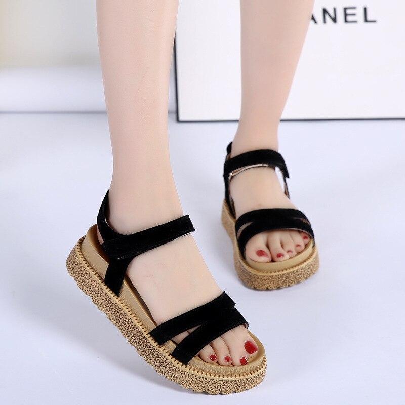 2018 новая модель Лето мэм бисквит из натуральной кожи фланец студент Для женщин обувь кусок волос поколения