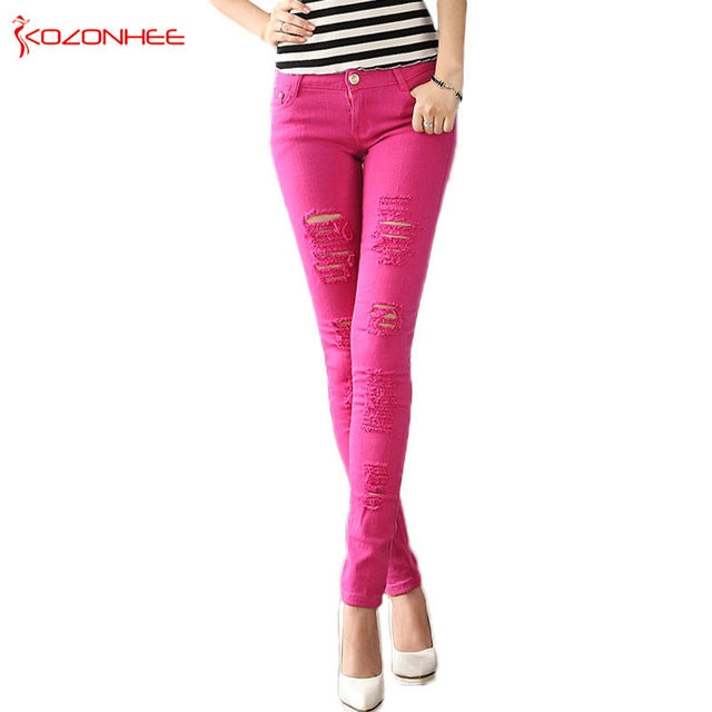 3838c178afb Color Stretching Ripped Jeans Women Washed Distressed With Torn Jeans  Elasticity Skinny jeans For Girls Pencil