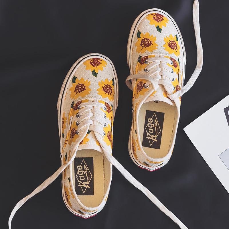 Daisy Canvas Shoes Women Girls Sunflower Sneakers Ladies Vulcanized Shoe Low Top Lacing Flat Heel Casual Yellow Shoes 35-40