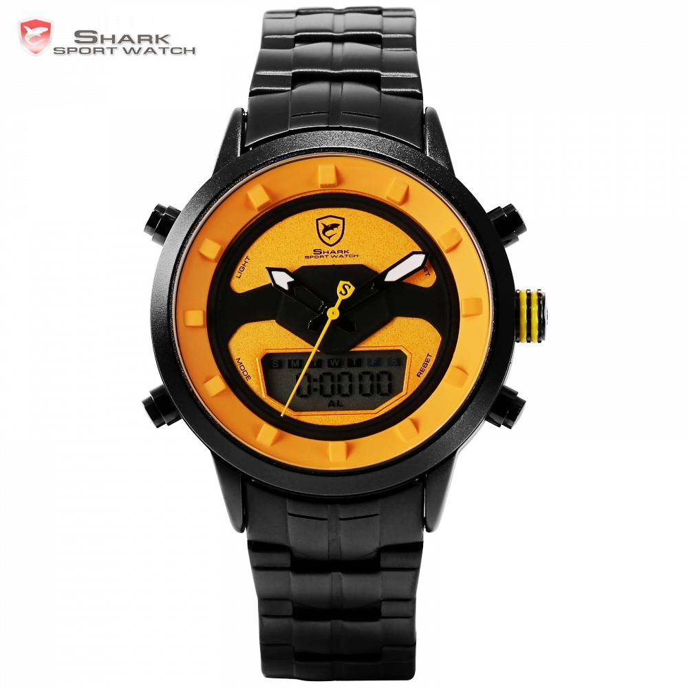 Requiem Shark Sport Watch Fashion LCD Yellow Waterproof Date Alarm Stopwatch Mens  Stainless Steel Digital Watches /SH553 snaggletooth shark sport watch lcd auto