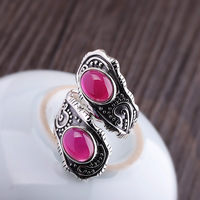 Retro Elegant Silver Ring Jewelry For Women 100% 925 Sterling Silver Adjustable Ruby Ring Fine Original Design Jewelry 2019