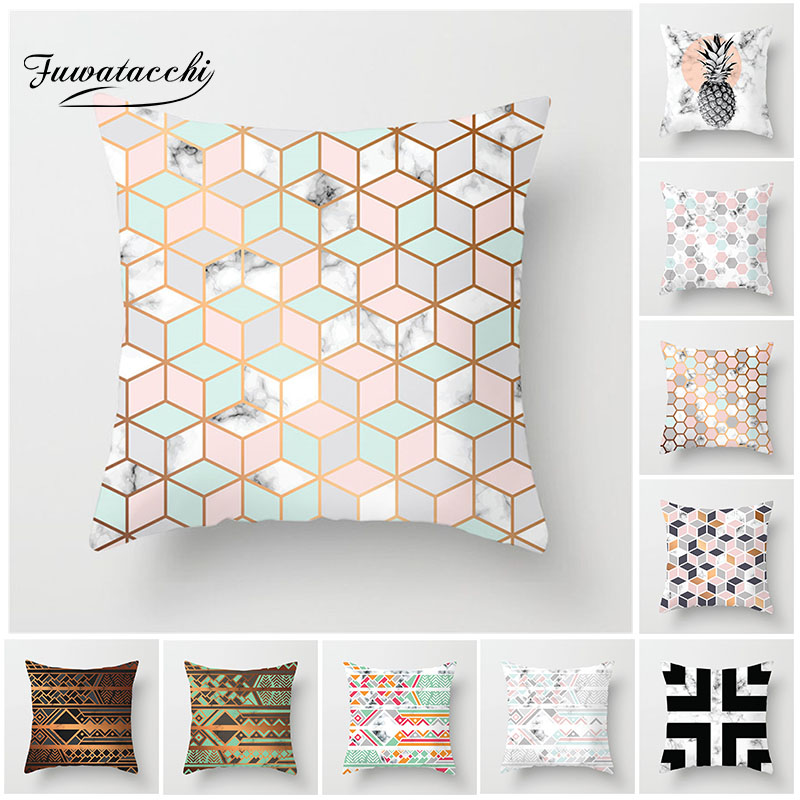 Fuwatacchi Marble Pattern Cushion Cover Pineapple Plaid Patchwork Pillow Cover For Home Chair Decoration Pillowcases 45*45 Cm
