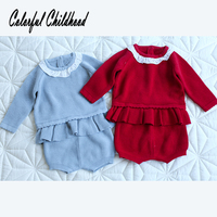 Lovely cozy infant baby clothes autumn winter ruffles lace chiffon collar sweater+pants suit Xmas toddler baby outfits 0 24m