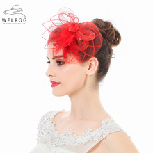 WELROG Fascinators Hat For Women Flower Mesh Feathers Striped Hair With Silver Clips Headband Cocktail Tea Party Headwear