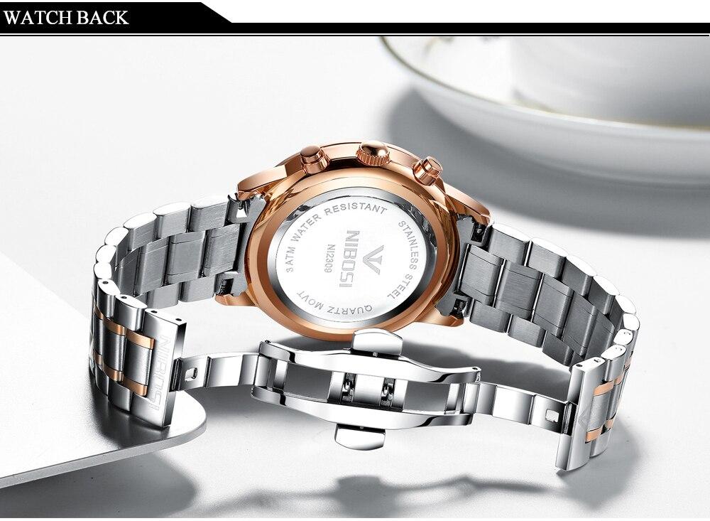 Relogio masculino nibosi marca de luxo relógios