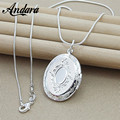 ANDARA Silver Chain Necklace 925 Silver jewelry Round Photo Locket Pendant Necklace Charms Necklaces Snake Chain N313