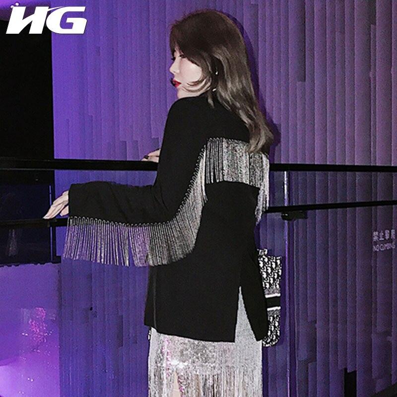 HG Autumn Tassel Patchwork Slim Blazer Women 2019 New Hurricane Fashion Women Tops Solid Color Wild Individuality Tops ZYQ1138
