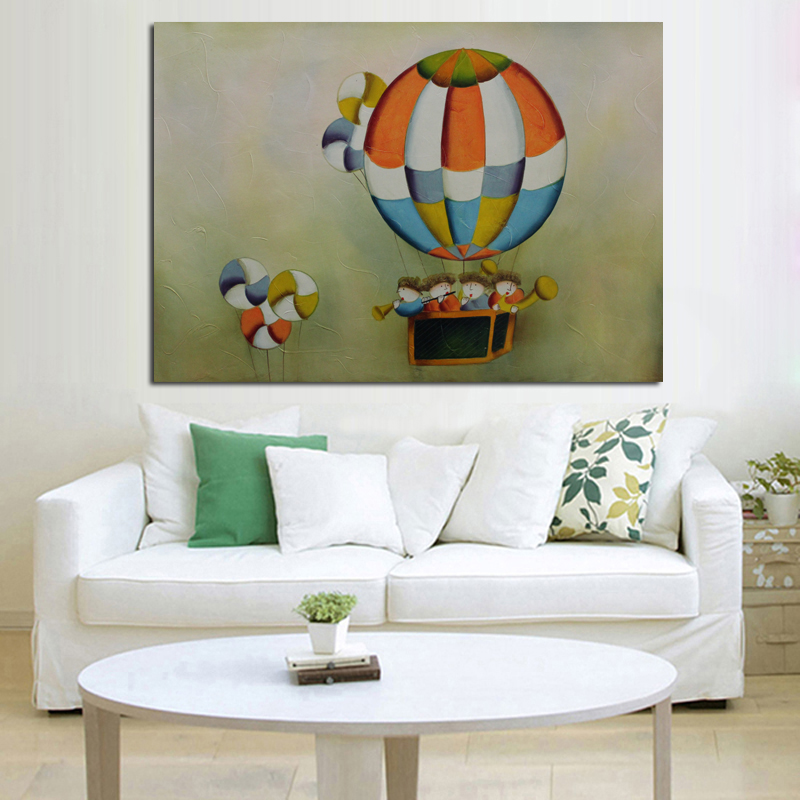 high quality home Decorative landscape Oil Painting Hot Balloon Art Picture Wall Sticker On Canvas for kid' room hotel Decor