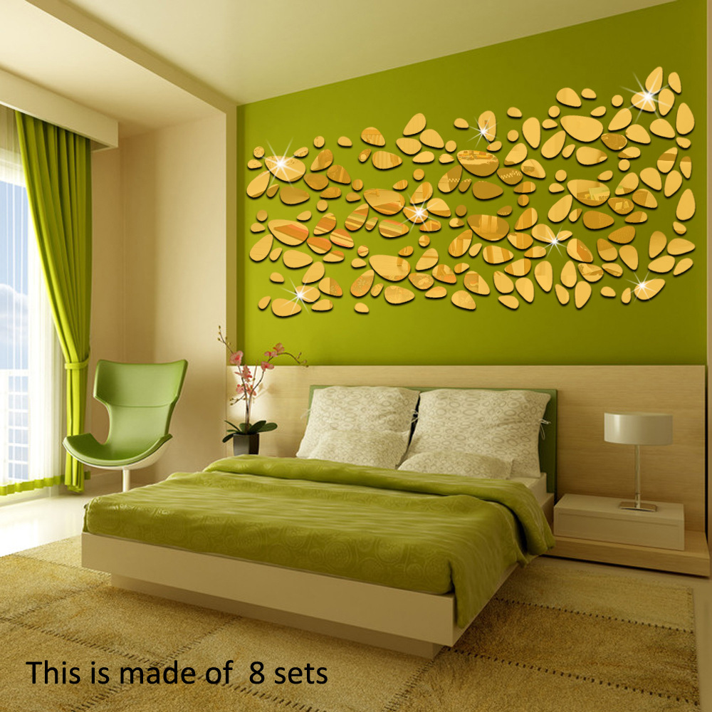 18 Pcs / Set Home Decor Mirror Wall Stickers Fashion Oval Abstract ...