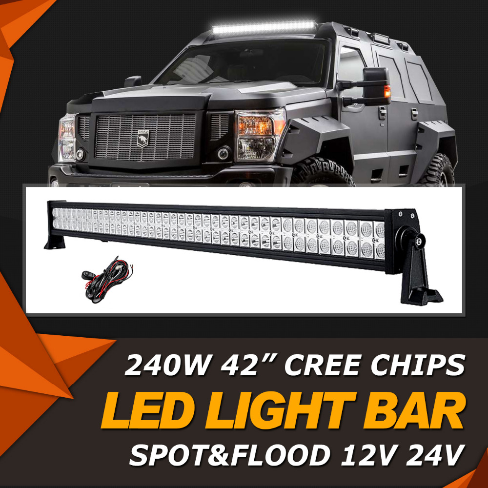 Oslamp 240W 42 inch CREE Chips LED Light Bar Offroad Beam Combo Led Work Light Bar 12v 24v Truck ATV SUV 4WD 4x4 Driving Lamp  oslamp 7d 120w 12 led work light bar cree chips led bar offroad spot flood truck suv atv 4x4 4wd driving 12v 24v led bar lights
