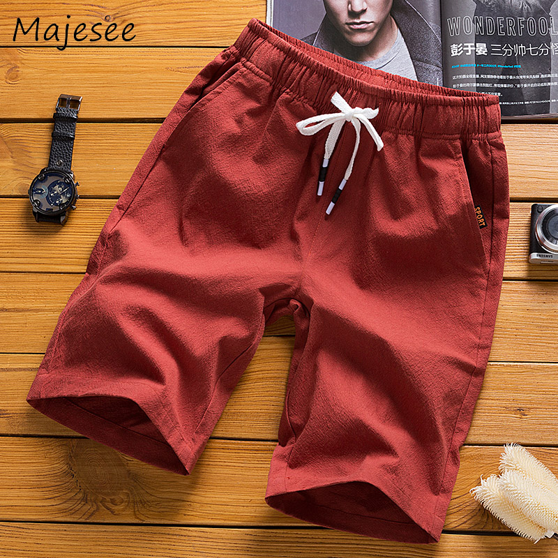 Men Casual Shorts Mens Short Plus Size Summer Linen Thin Solid Comfortable Breathable Korean Male Loose 6 Colors Elastic Waist
