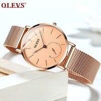 OLEVS Luxury Fashion Women Watches Rose gold Mesh belt Dress Black dial Ladies Watch Quartz D Wrist Watches W Gift Dropshipping