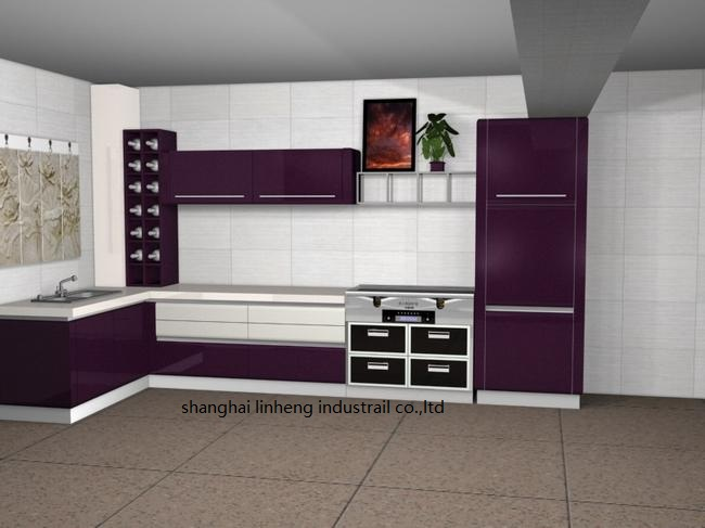 High gloss/lacquer kitchen cabinet mordern(LH LA025)