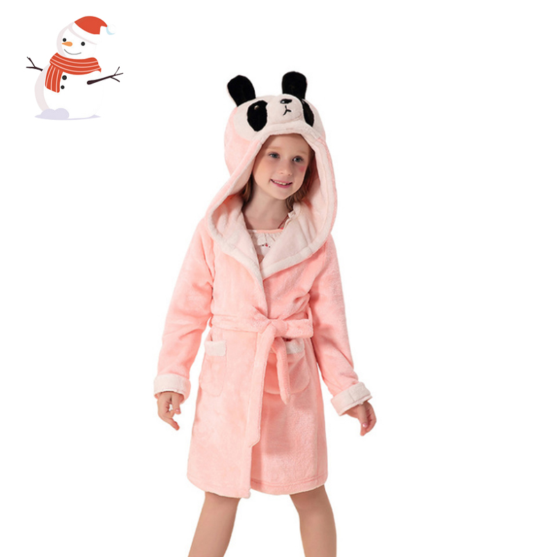 kids bathrobe 2018 girl bath robe girls nightwear cartoon animal children sleepwear soft flannel warm winter hooded