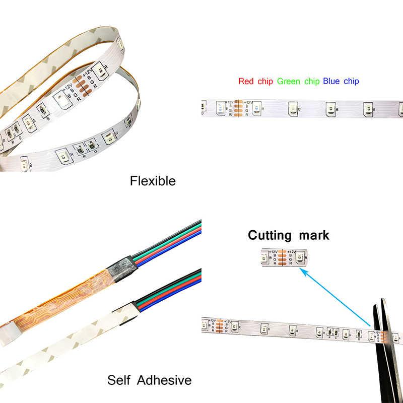 5 Meter LED Lampu Strip 300 LED Tidak Tahan Air RGB 3528 DC12V 60 LED/M Fleksibel Lampu String ribbon Tape Lampu Dekorasi Rumah