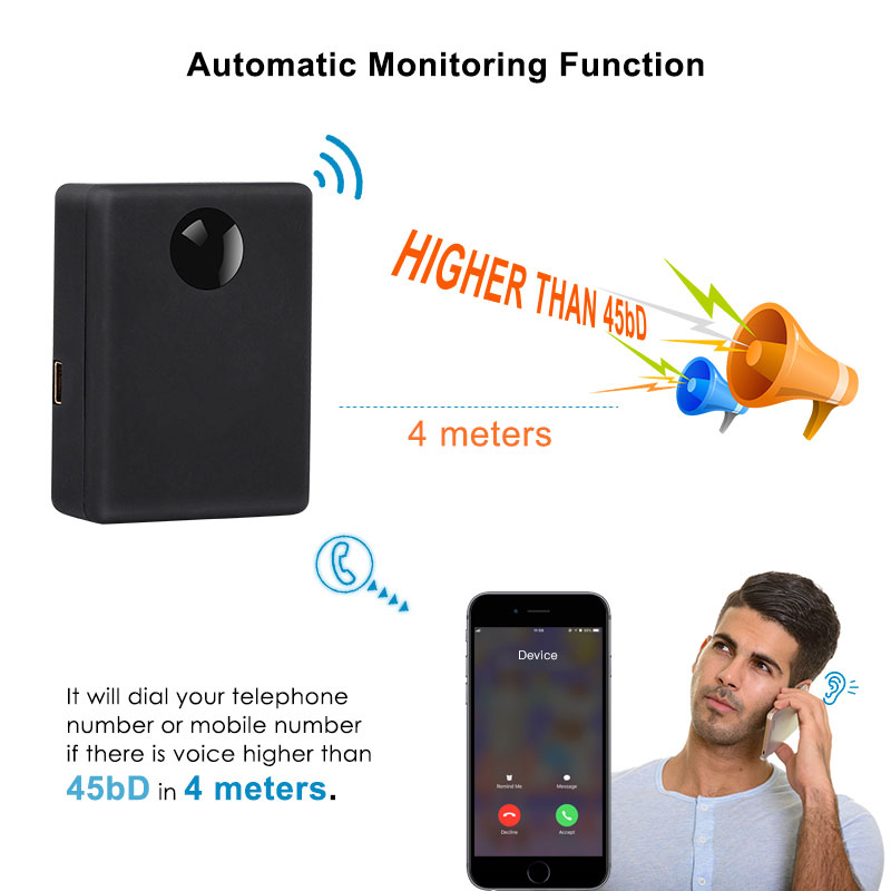 Image 2 - N9 Mini GSM Device Audio Monitor Spy Listening Surveillance Personal Mini Voice Activation Built in Two MIC 12 Days Standby Time-in GPS Trackers from Automobiles & Motorcycles