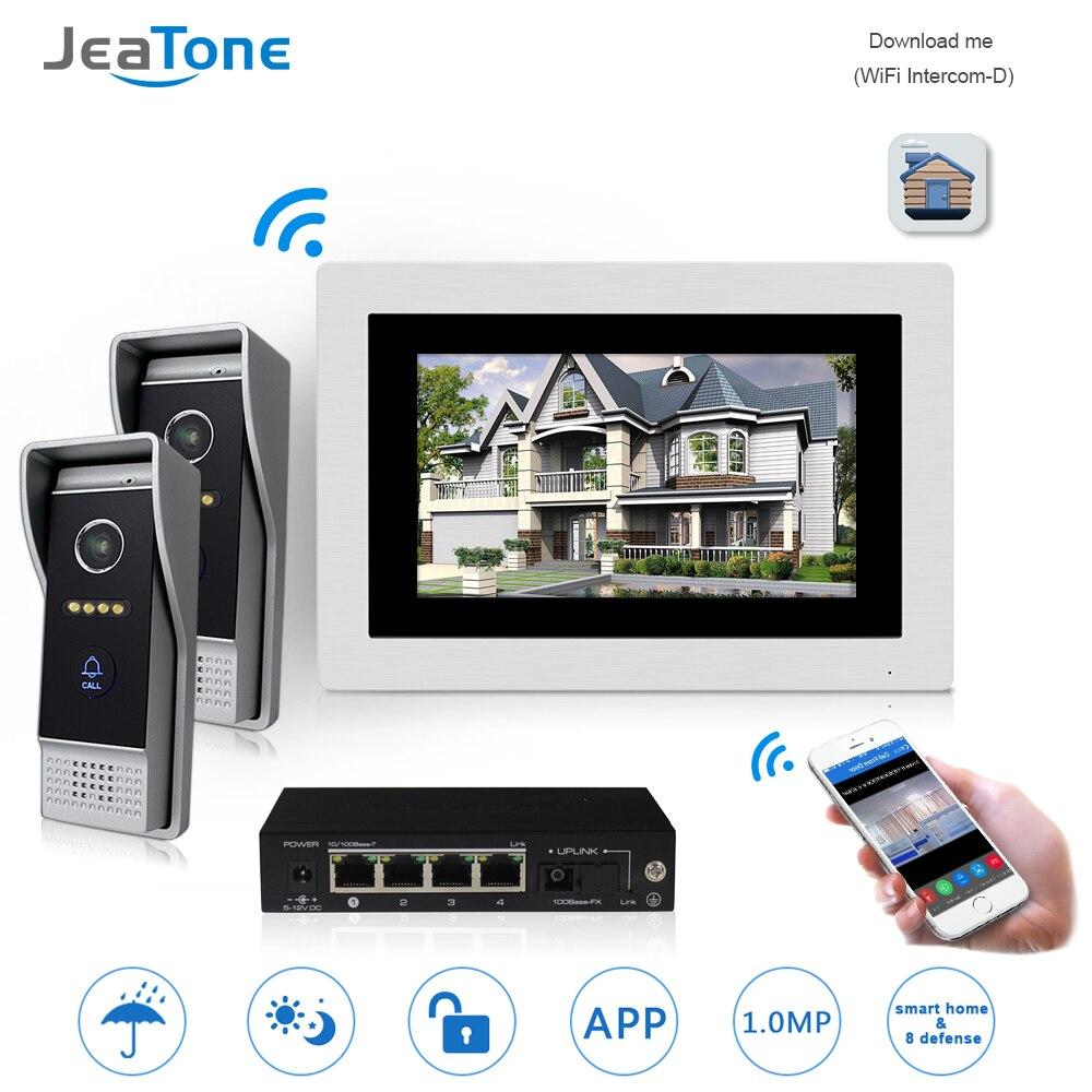 7 ''WIFI IP Vidéo Porte Téléphone Interphone Sonnette Sans Fil Haut-Parleur Système de Contrôle D'accès Écran Tactile Détection de Mouvement pour 2 portes