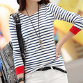 Mujeres Tops O-cuello de La Camiseta de Manga Larga A Rayas Camisetas Camisetas Blusas Femininas