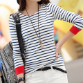 Womens Tops O-Neck T-Shirt Long Sleeve Striped T Shirts Tees Blusas Femininas