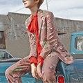 2017 El Más Nuevo Diseño Del Resorte del Otoño Guapo Delgado 2 Unidades Pantalones Traje Set Top + Pantalones Largos de La Flor Impreso Twin Set ALTA CALIDAD