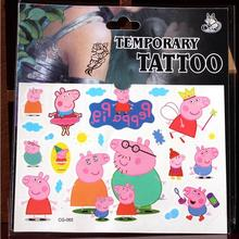 Lovely Cute Pig Crown Child Boy Temporary Body Art Flash Tattoo Stickers Waterproof Fake Tattoo Car Styling Wall Sticker CG065