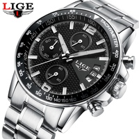 2018 NEW Fashion Casual Brand LIGE Waterproof Quartz Watch Men Military Stainless Sports Watches Man Clock