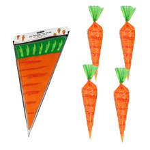 20pcs Easter Carrot Candy Bag Easter Bunny Rabbit Gift Bag Candy Cones Transprant Plastic Bag Kids Birthday Party Decoration 20pcs new cute easter bunny ears rabbit headband gift party fancy dress cosutume kids girl nice hairwear new