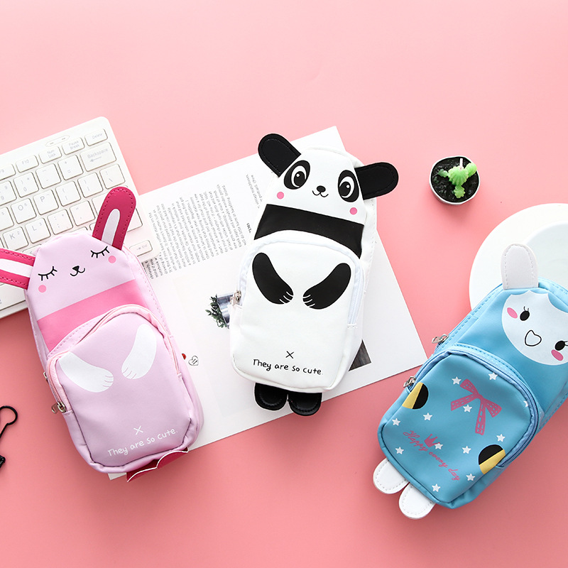 Cute cartoon panda rabbit schoolbag pencil case Storage pen bag PU material Stationery kids gift Office School supplies F030 south korea stationery creative cartoon cute kitten pu wallet key bag storage material