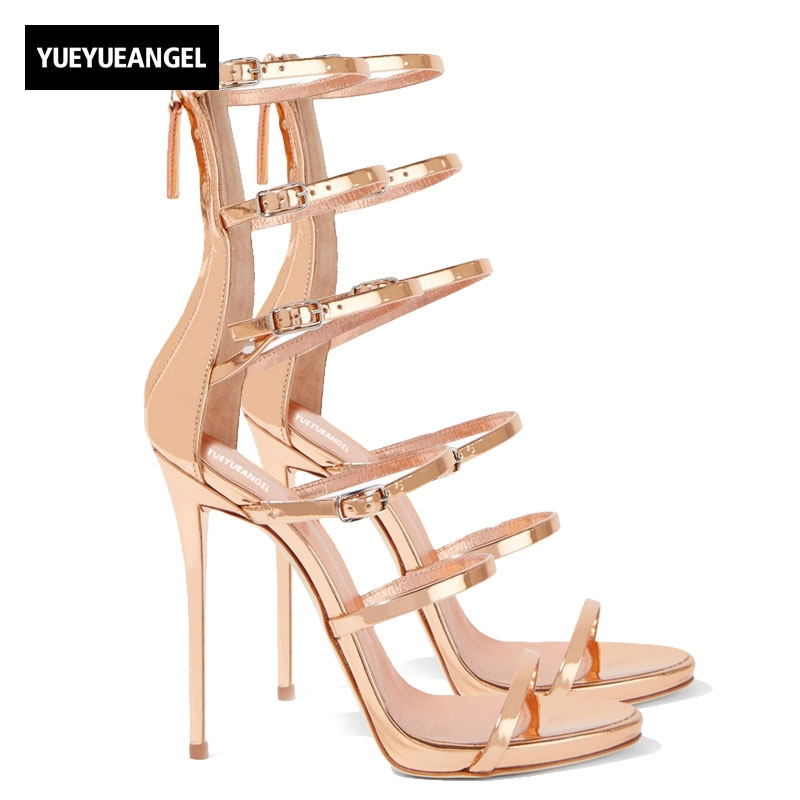 2018 New Womens Shoes Golden Patent Leather Six Buckle With High-Heeled Zipper Leaf Hollow Sandals Womens Party Shoes Plus Size denim zipper hollow worn stiletto womens sandals
