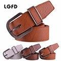 Classic 3.8 cm hombres marrón café color blanco jeans Cinturones de vestir de Cuero de imitación