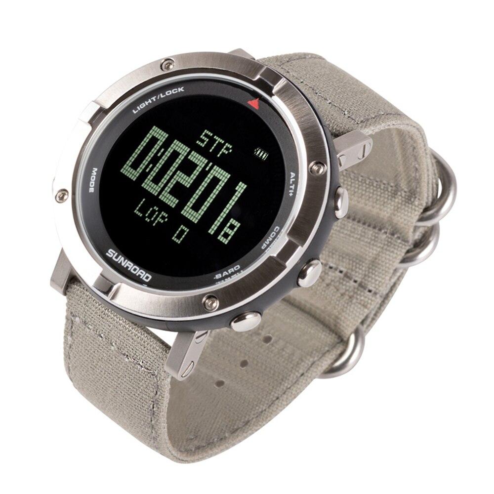Hommes en plein air sport numérique montre-bracelet moniteur de fréquence cardiaque podomètre montre 5ATM étanche avec bande de Nylon